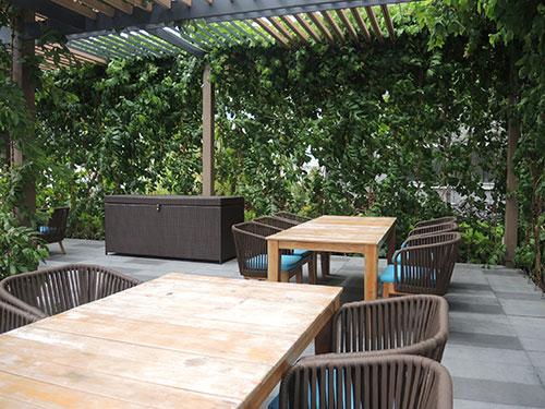無料開放されている屋上「Rooftop Garden」ではちょっとした休憩やランチに最適
