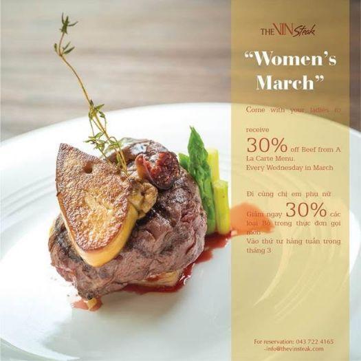 【The VinSteak】女性の日を祝して、毎週水曜日はステーキが30%OFF!